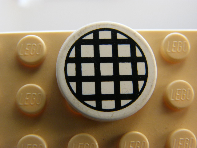 LEGO 4150p01 - Tile, Round 2 x 2 with Black Grid Large Pattern