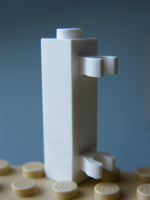 LEGO 60583 White Brick, Modified 1 x 1 x 3 with 2 Clips Vertical