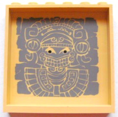 LEGO 59349pb044 - Panel 1 x 6 x 5 with Aztec Head Pattern 1 on Inside