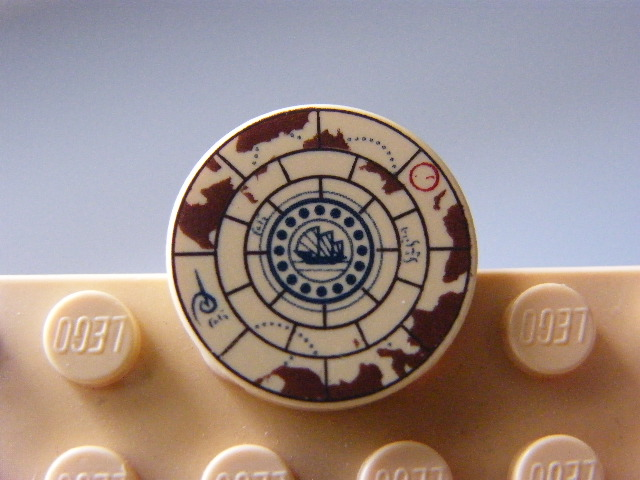 LEGO 4150pb080 - Tile, Round 2 x 2 with Treasure Map Pattern