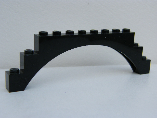 LEGO 18838 Black Brick, Arch 1 x 12 x 3 Raised Arch with 5 Cross Supports