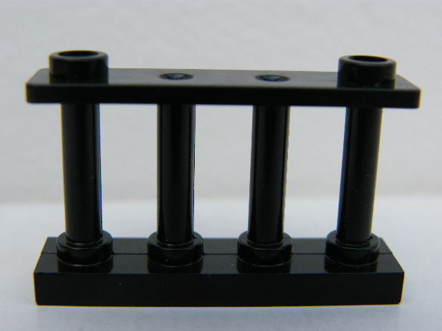 LEGO 30055 Black Fence 1 x 4 x 2 Spindled with 2 Studs