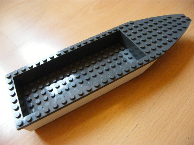 LEGO 92710c01 - White Boat Hull Unitary 28 x 8 Complete Assembly with Dark Bluish Gray Top