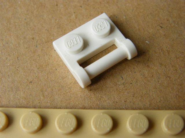 LEGO 48336 - White Plate, Modified 1 x 2 with Handle on Side