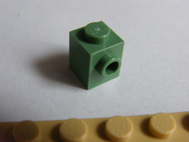 LEGO 87087 Sand Green Brick, Modified 1 x 1 with Stud on 1 Side