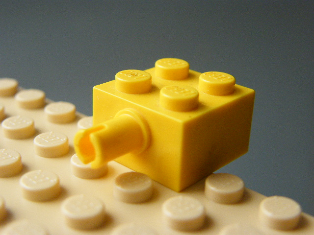 LEGO 4730 Yellow Brick, Modified 2 x 2 with Pin and No Axle Hole