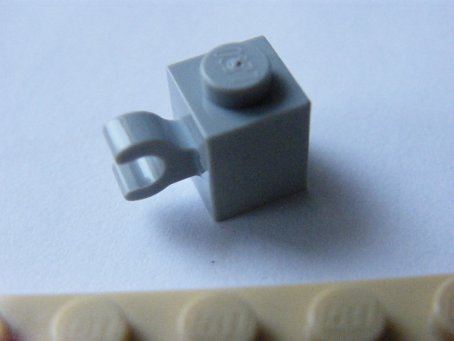 LEGO 60476 - Light Bluish Gray Brick, Modified 1 x 1 with Clip Horizontal