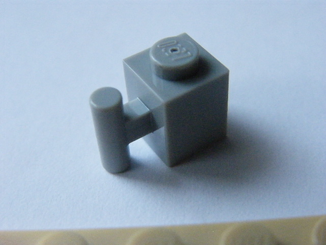 LEGO 2921 - Light Bluish Gray Brick, Modified 1 x 1 with Handle