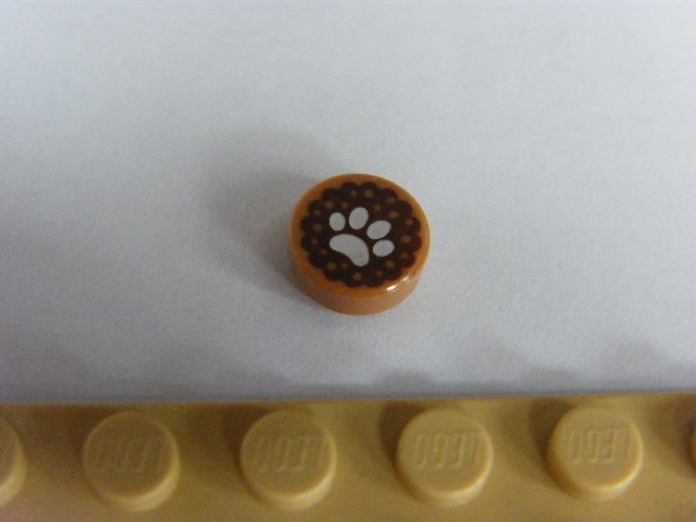 LEGO 98138pb055 - Tile, Round 1 x 1 with White Animal Paw Print