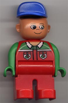 Duplo Figure 4555pb040 - Male, Red Legs