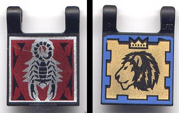 233LEGO 5pb006 - Flag 2 x 2 Square, Dual Pattern, Scorpion and Lion with Crown