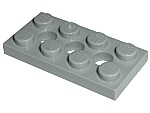 LEGO 3709b - Light Bluish Gray Technic, Plate 2 x 4 with 3 Holes