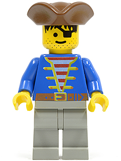 LEGO pi008 - Pirate Blue Jacket, Light Gray Legs, Brown Pirate Triangle Hat