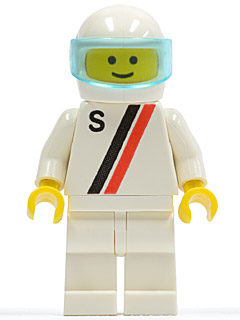 LEGO s006 'S' - White with Red / Black Stripe, White Legs, White Helmet