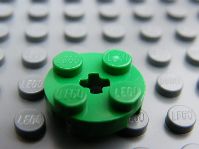 LEGO 4032 - Green Plate, Round 2 x 2 with Axle Hole