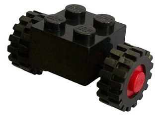 LEGO 3137c01assy2 - Brick, Modified 2 x 2 with Wheels Red for Single Tire