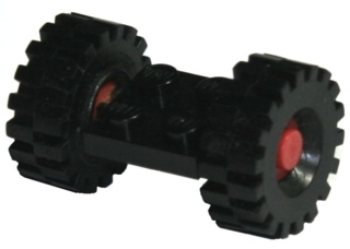 LEGO 122c01assy3 - Plate, Modified 2 x 2 with Wheels Red