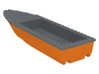 LEGO 92710c01 - Orange Boat Hull Unitary 28 x 8 Complete Assembly with Dark Bluish Gray Top