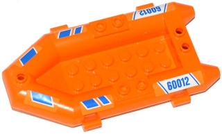 LEGO 30086pb05 - Boat, Rubber Raft, Small with Blue Stripes and '60012' Pattern on Both Sides (Stickers) - Set 60012