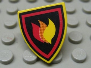 LEGO 3846pb25 - Minifig, Shield Triangular with Fire Logo Pattern (Sticker)