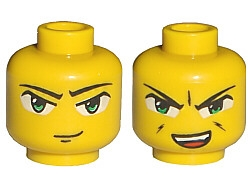 LEGO 3626bpb0017 - Minifig, Head Dual Sided Exo-Force Green Eyes with Smirk