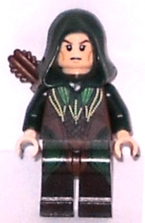 LEGO lor078 Mirkwood Elf Archer - Dark Green Outfit, Dual Sided Head