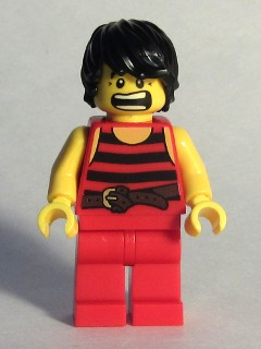LEGO pi168 - LegoPirate 7 - Black and Red Stripes, Red Legs