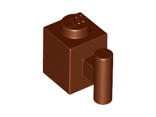 LEGO 2921 - Reddish Brown Brick, Modified 1 x 1 with Handle