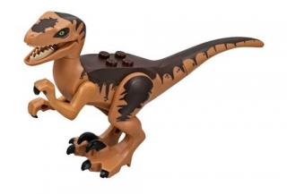 LEGO Raptor10 - Dino Raptor with Black Claws and Dark Brown Back - Complete Assembly (75932)