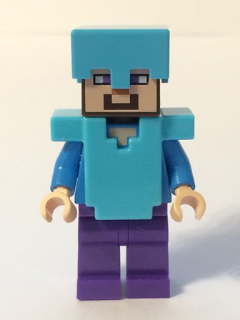 LEGO min020 Steve - Medium Azure Helmet and Armor