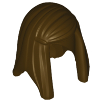 LEGO 92083 - Dark Brown Minifig, Hair Female Long Straight with Left Side Part
