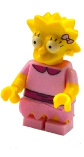 LEGO sim030 Lisa Simpson with Bright Pink Dress - Minifigure only Entry