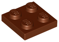 LEGO 3022 Reddish Brown Plate 2 x 2