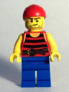 LEGO pi161 Pirate 3 - Black and Red Stripes, Blue Legs, Scar