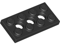LEGO 3709b Black Technic, Plate 2 x 4 with 3 Holes