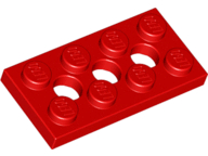 LEGO 3709b Red Technic, Plate 2 x 4 with 3 Holes