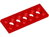 LEGO 32001 Red Technic, Plate 2 x 6 with 5 Holes