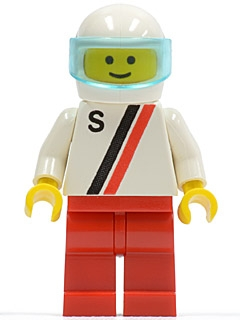 LEGO s001 'S' - White with Red / Black Stripe, Red Legs, White Helmet, Trans-Light Blue Visor