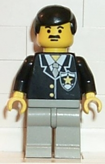 LEGO cop035 Police - Suit with Sheriff Star, Light Gray Legs, Black Male Hair
