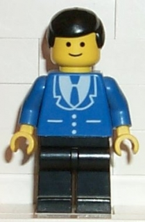 LEGO trn069 Suit with 3 Buttons Blue - Black Legs, Black Male Hair