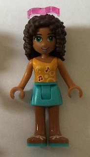 LEGO frnd169 Friends Andrea, Medium Azure Skirt, Bright Light Orange Top with Music Notes, Sunglasses
