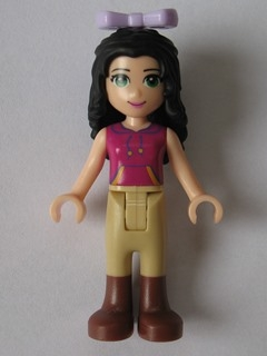 LEGO frnd156 Friends Emma, Tan Riding Pants, Magenta Top with Yellow and Dark Purple Trim, Lavender Bow
