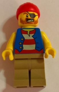 LEGO twn332 Pirate Man, Striped Red and White Shirt Under Blue Vest