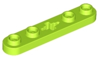 LEGO 32124 Lime Technic, Plate 1 x 5 with Smooth Ends, 4 Studs and Center Axle Hole