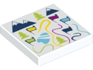 LEGO 3068bpb1112 Tile 2 x 2 with Groove with Map of Ski Resort with Flags, Trees and Mountains Pattern
