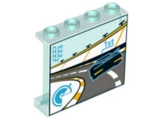 LEGO 60581pb082 Panel 1 x 4 x 3 with Side Supports - Hollow Studs with Race Car on Track Pattern