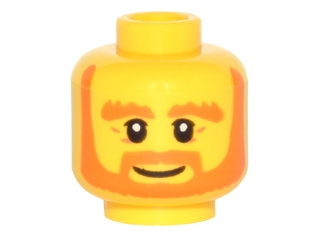 LEGO 3626cpb1512 Minifigure, Head Beard Orange, Bushy Eyebrows, White Pupils, Wrinkles and Smile Pattern - Hollow Stud