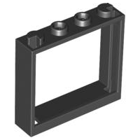 LEGO 60594 Black Window 1 x 4 x 3 - No Shutter Tabs