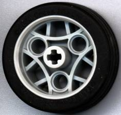 LEGO 44293c01 Light Gray Wheel 36.8 x 14 ZR with Axle Hole, 3 Pin Holes, and Black Rubber Tire Glued On
