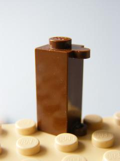 LEGO 3581 Brown Brick, Modified 1 x 1 x 2 with Shutter Holder
